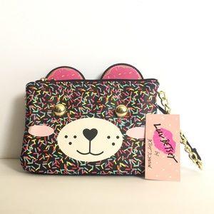 😍NWT Betsey Johnson Bear crossbody Bag Confetti